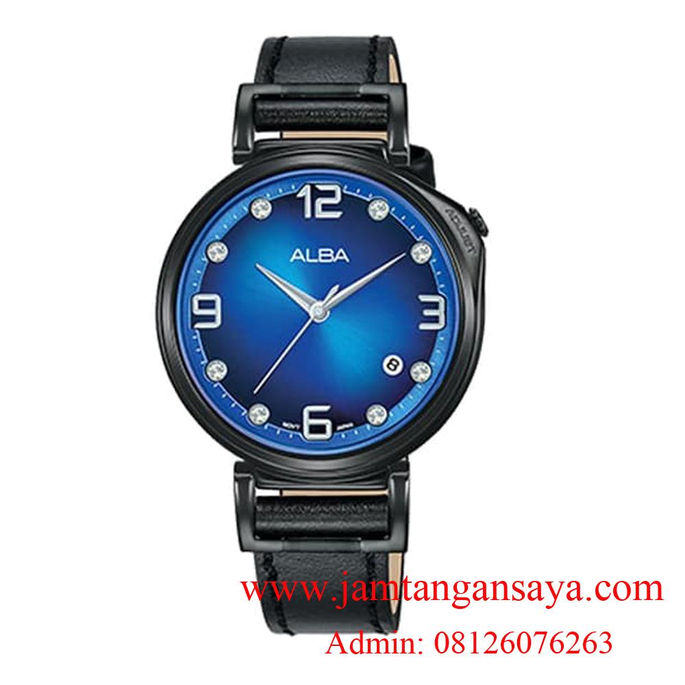 Alba AG8J19X1 Swarovski Blue Dial Leather Strap Ladies