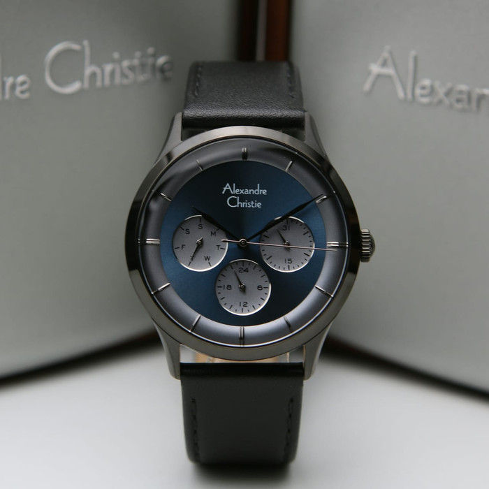 Alexandre Christie 2868BF Blue Dial Black Leather Strap